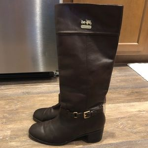 Coach Tall Leather Boots Size 11